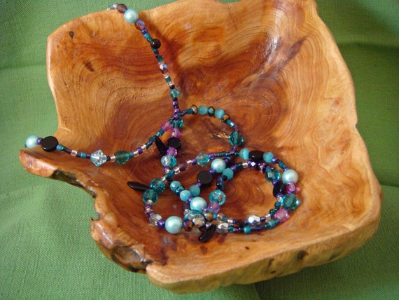 Long necklace of mixed aqua Czech and seed beads