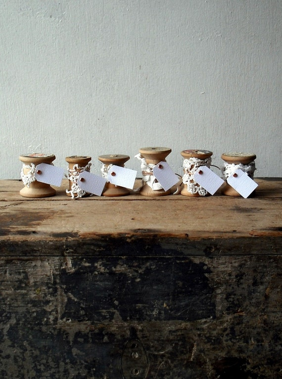 Vintage Wooden Spool Place Cards