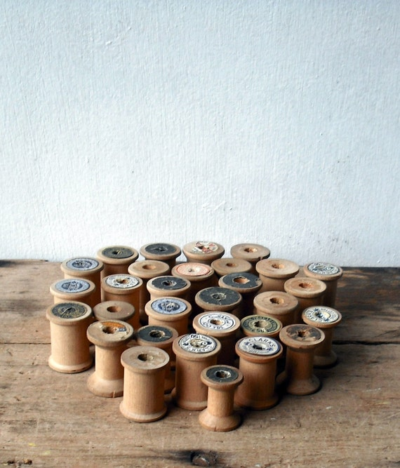 Collection of Vintage Wooden Spools
