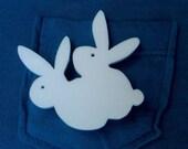 Love Bunnies- Laser Cut Acrylic Brooch