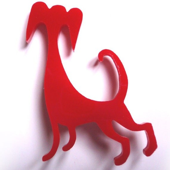Red Dog Acrylic Brooch - Laser Cut Jewelry