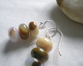 Natural Morocco Agate Sterling Silver Earrings