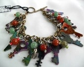 Steampunk Vintage Key Repurposed Charm Bracelet with Mixed Stone Beads