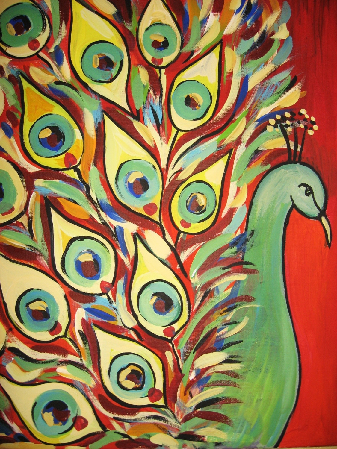 Peacock original acrylic painting on canvas 16x20 for How paint on canvas
