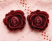 High Quality Bloom Rose Cabochon in Maroon - 4pcs