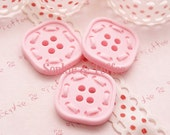 Kawaii Supplies Baby Pink Button Cabochon - 10pcs