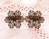 Antique Bronze Filigree Flower Ring Base 8pcs FR10