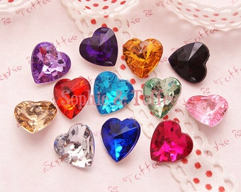 Acrylic Faceted Rhinestone Hearts with Tip end - Assorted Set of 24 pcs