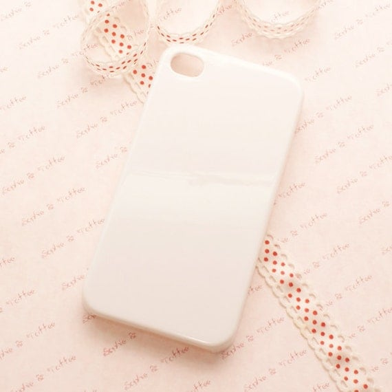 IPhone 4 White Acrylic Mobile Case for Decoden