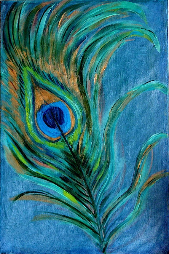 Peacock feather original oil painting on canvas for Painting feathers on canvas