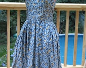 RESERVED blue bird of happiness summer vintage DRESS