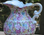 Royal Chintz rose daisy forget me not floral Pitcher with gold trim handle
