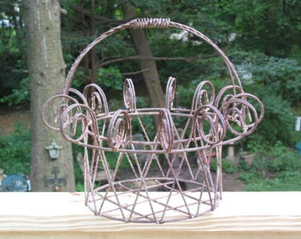 Antique primitive twisted wire large farm BASKET planter