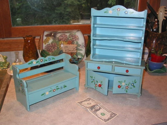 reserved for Eileen Doll Furniture vintage wood Folk Art Bench Hutch and Shelf 3 piece quality set