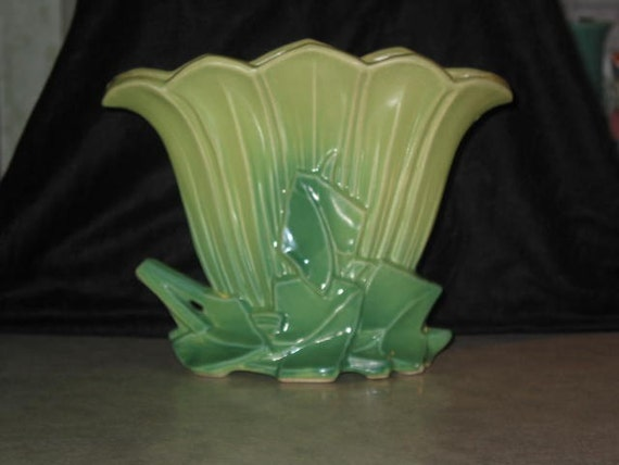1950 McCoy Pottery ivy leaf green FAN VASE lamp base