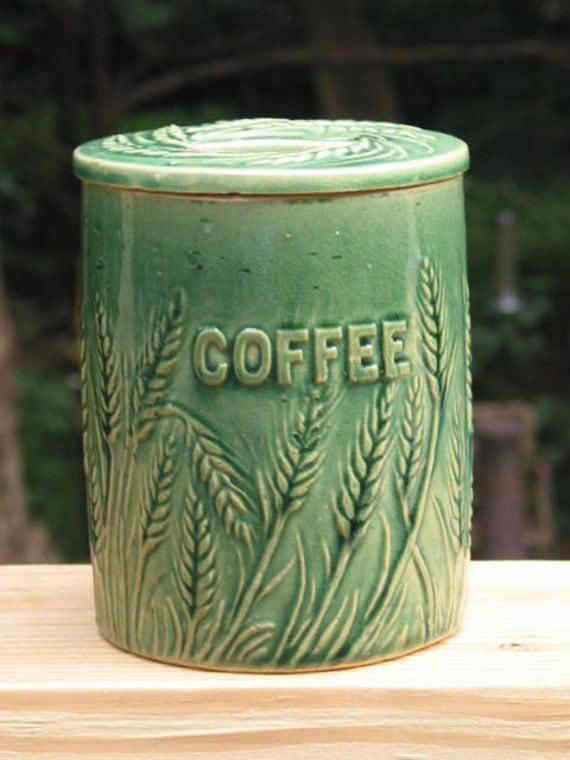 1920 S Hull Pottery Yellowware Wheat Embossed Coffee