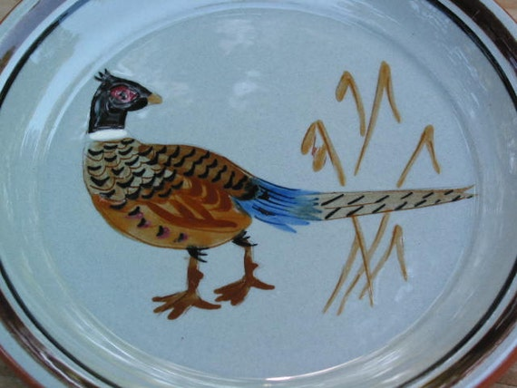 Stangl Pottery sportsman series Pheasant Coaster hand carved and painted