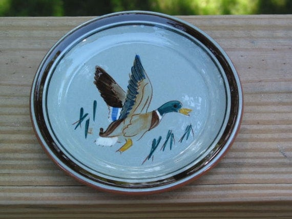 Stangl Pottery sportsman series Mallard Duck Coaster hand carved and painted