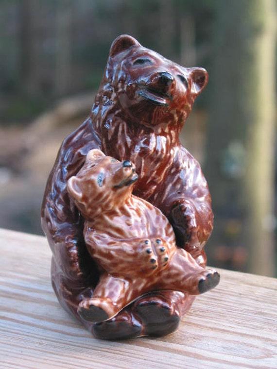 Ceramic Arts Studio mama & baby bear salt pepper shakers