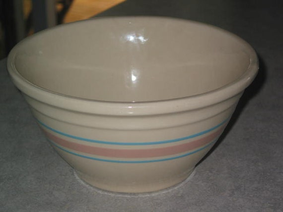 mccoy pottery blue  u0026 pink stripe large mixing bowl oven ware
