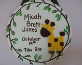 GENTLE GIRAFFE - Custom for your little one - Birth plaque - SPECIAL DEAL ITEM