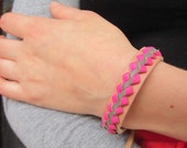 Pink Braided Leather Bracelet