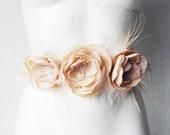 Xmas SALE Cream Flowers BELT SASH bridal lace feathers