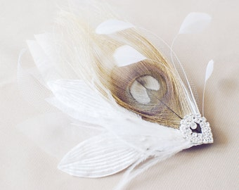 Lucy hair pin peacock feathers crystal