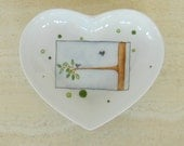Hand painted porcelain heart shaped tray for jewelry or bed and bath with a couple of small love birds