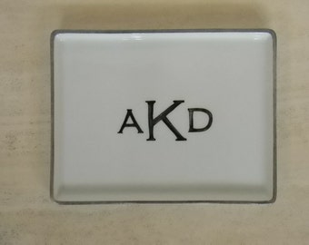 Hand painted porcelain custom monogrammed personalized appetizer plate or bed and bath tray