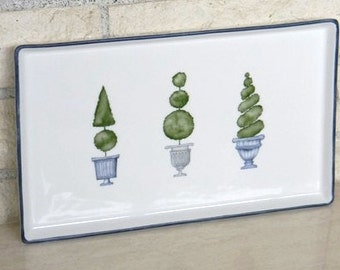 Hand painted porcelain topiary trees tray or plate for appetizers for bed bath or kitchen