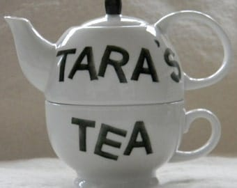 Personalized porcelain hand painted tea for one teapot monogrammed and custom