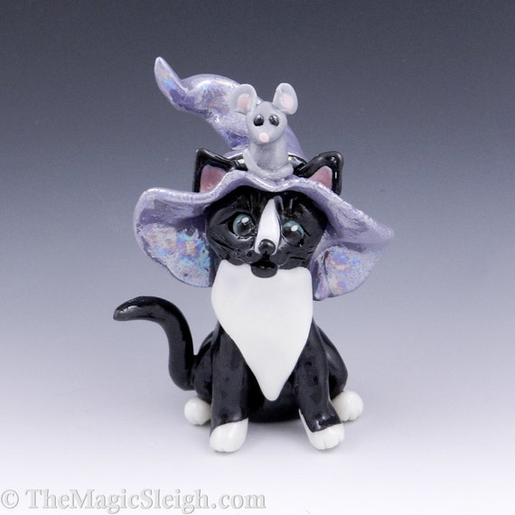 Black and White Cat Wizard with Mouse Porcelain Figurine