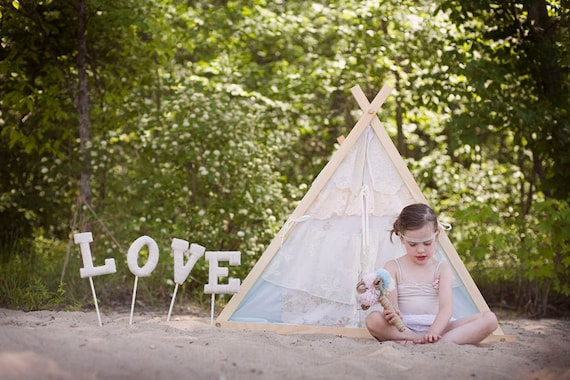 Children's A-Frame Ruffle Tent cover by Teepee and Tent