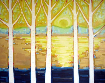 Sunlit Birch no. 4 (60x48) Large Original painting on canvas by Kristi Taylor