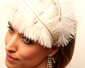 ON HOLD for Viktoria - 1920s Ostrich Feather Flapper Bridal Headband