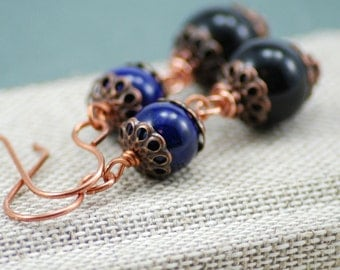 Midnight Earrings, Antiqued Copper with Purple and Black Glass