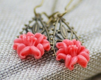 Eros Earrings, Pink Lilies with Brass Filigree