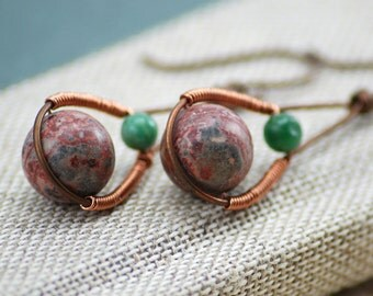 Dual Orbit Earrings - Wire Wrapped Copper and Gemstones