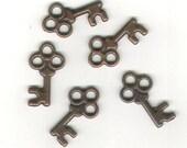 Key Shape Antique Bronze Finish Metal Charms - 5