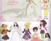 Barbie, Bratz, Moxie Girlz Doll Weding Gown 10.5, 11.5, 12.5 inch tall doll Simplicity 1955 Sewing Pattern