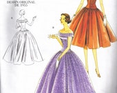 Vogue 1094 Sewing Pattern 50s Vintage Styled Drop Waist Boufant Dress  Size 6, 8, 10, 12 Bust 30 1/2 - 34 inch