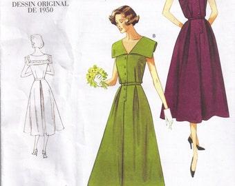 Nautical Sailor Dress Vogue 1171 Retro 50s Reprint Sewing Pattern Plus Size 16, 18, 20, 22, Bust 38, 40, 42, 44 Inch