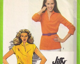 Sewing Pattern Pullover Tunic Tops with Slashed Collar Neckline Simplicity 9467 Vintage 1980s Shirt Size 14 Bust 36