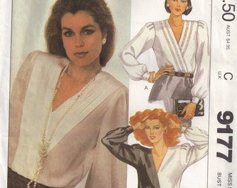Pullover Blouse Top V Neckline Misses Sewing Pattern Size 8 Bust 31.5 inch McCalls 9177 1980s Womens