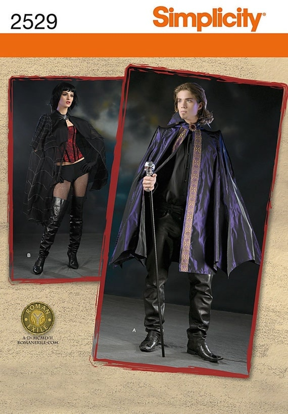 Simplicity 2529 Gothic Vampire Dracula  Cloak Sewing Pattern Size L,  XL chest 42, 44, 46,  48