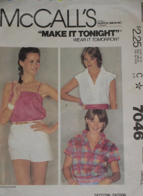Camisole Shirt Sleeveless Thin Straps button up Sewing Pattern McCalls 7046 1980s Vintage Misses Size Small 10, 12 bust 34