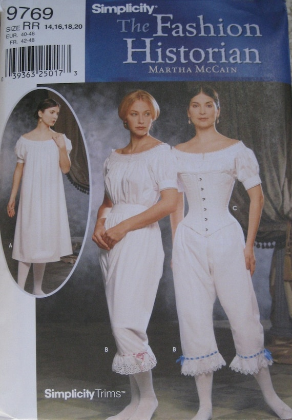 Victorian Undergarments Simplicity 9769 Period Costume Sewing Pattern Plus size 14, 16, 18, 20 Bust 36, 38, 40, 42