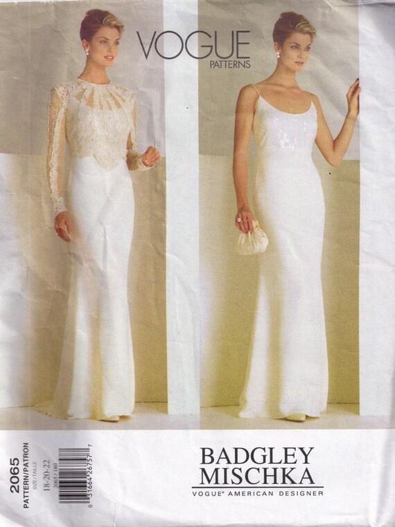 Badgley Mischka Wedding Gown Vogue 2065 Sewing Pattern Plus