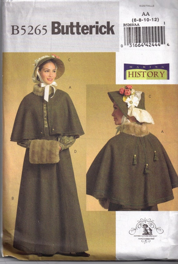 Butterick 5265 Dickens Costume Cape Muff And Bonnet Sewing